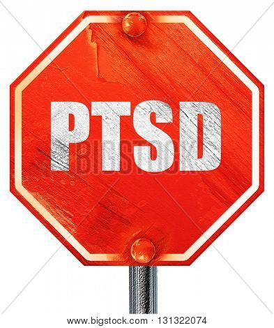ptsd, 3D rendering, a red stop sign