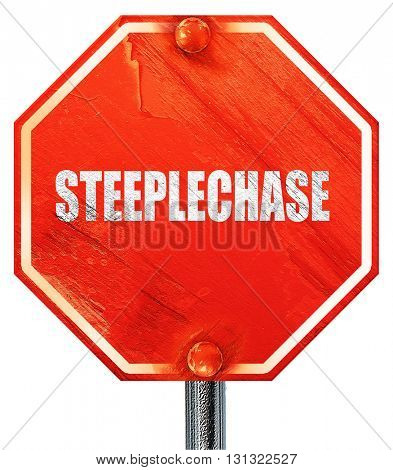 Steeplechase sign background, 3D rendering, a red stop sign