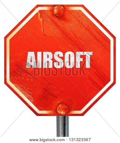 airsoft sign background, 3D rendering, a red stop sign
