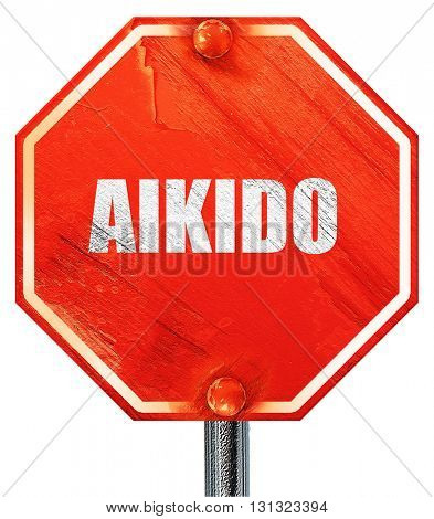 aikido sign background, 3D rendering, a red stop sign