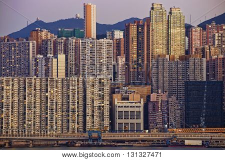 Hong Kong public house buildings in sunset