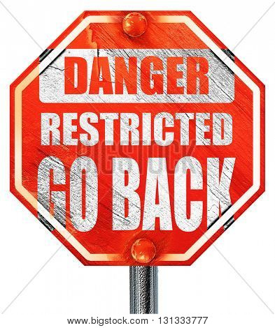 Go back sign, 3D rendering, a red stop sign