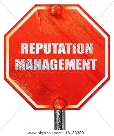 reputation management, 3D rendering, a red stop sign