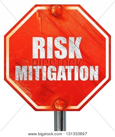 Risk mitigation sign, 3D rendering, a red stop sign