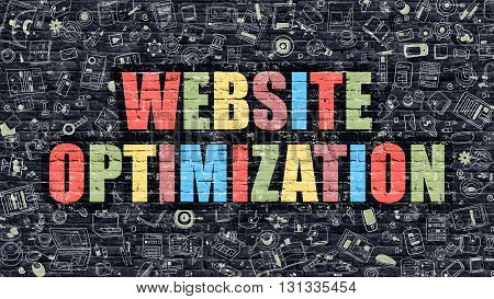 Website Optimization - Multicolor Concept on Dark Brick Wall Background with Doodle Icons Around. Modern Illustration with Elements of Doodle Style. Website Optimization on Dark Wall.