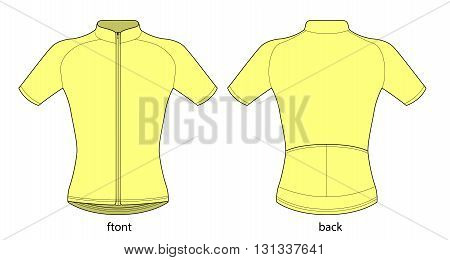 Vector illustration of bicycle short sleeve jersey template.
