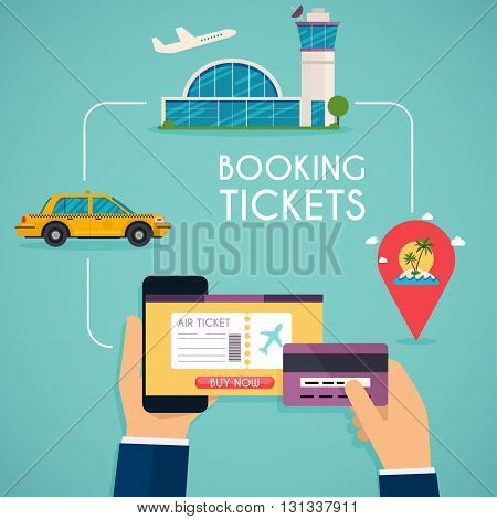 Online Booking Ticked. Buy Ticket Online. Traveling On Airplane, Planning A Summer Vacation, Tourism
