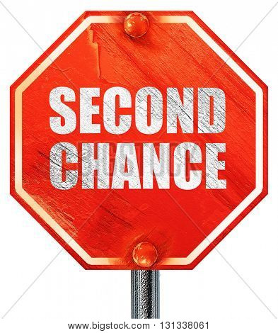 second chance, 3D rendering, a red stop sign