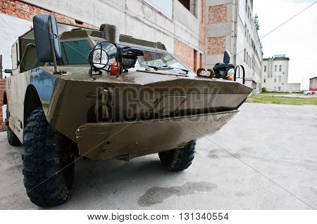 Podol, Ukraine - May 19, 2016: .amphibious Armoured Scout Military Car Brdm-2, Combat Reconnaissance