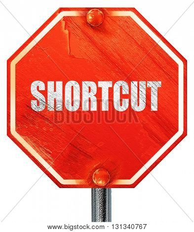 shortcut, 3D rendering, a red stop sign