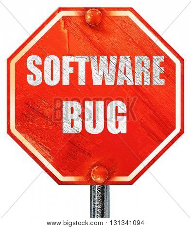 Software bug background, 3D rendering, a red stop sign