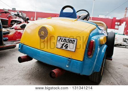 Podol, Ukraine - May 19, 2016: Rear View Of Handmade Blue And Yellow Bicolor Vintage Retro Classic C