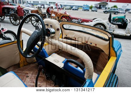 Podol, Ukraine - May 19, 2016: Dashboard And Steering Wheel Of Handmade Car Based On Zaz.