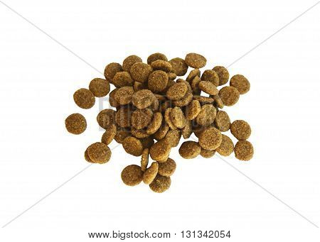 Dry food in granules for Pets. Nutrition food of dogs and cats on an isolated background. Food for the animals. Brown uniform pieces of dry food.