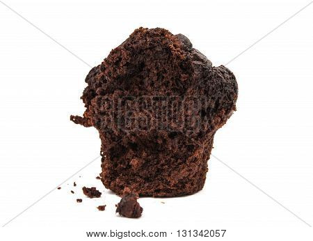 chocolate muffin isolated on white background very sweet