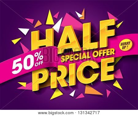 Half Price Sale concept with abstract triangle elements. sale layout design. Vector illustration