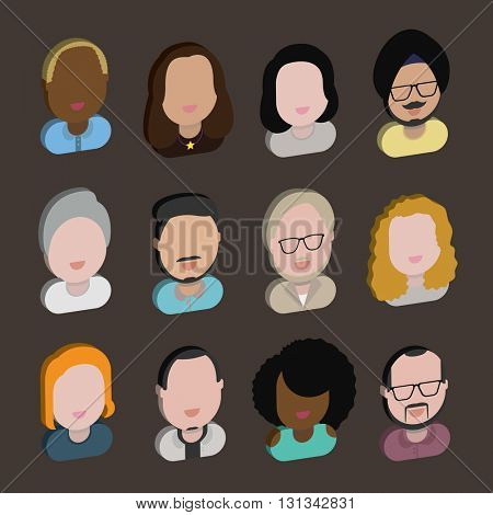 Diversity Interracial Community People Flat Design Icons