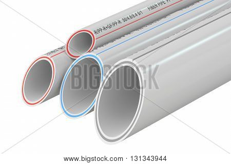 Composite Pipes 3D rendering isolated on white background