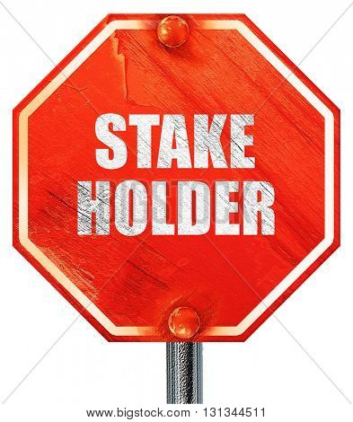 stakeholder, 3D rendering, a red stop sign