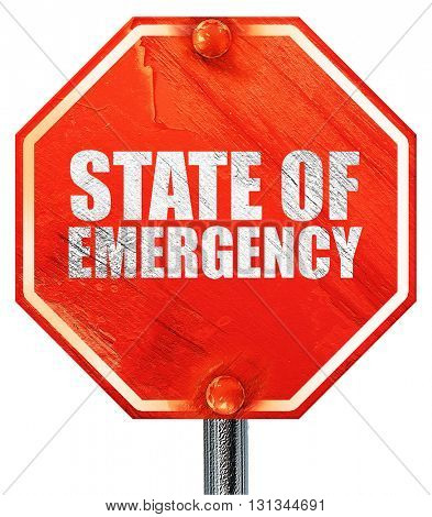 state of emergency, 3D rendering, a red stop sign