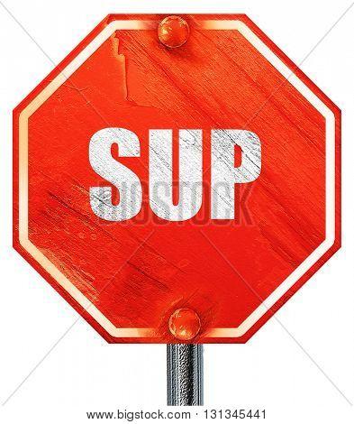 sup internet slang, 3D rendering, a red stop sign