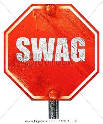 swag internet slang, 3D rendering, a red stop sign