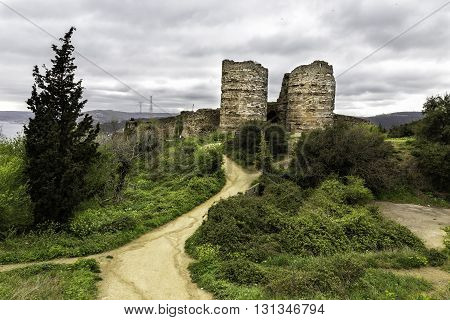 Ruins of Yoros Castle is a Byzantine ruined castle at the confluence of the Bosphorus and the Black Sea in Istanbul Turkey