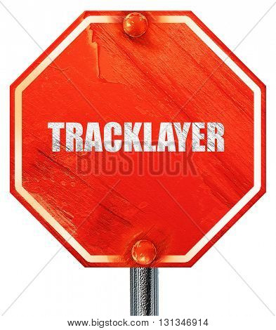 tracklayer, 3D rendering, a red stop sign