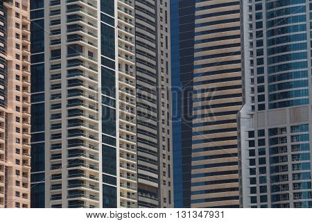 close up of several skyscrapers in Dubai