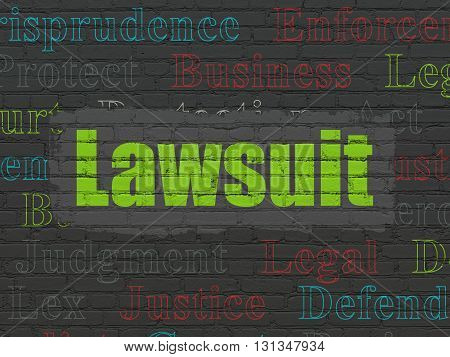 Law concept: Painted green text Lawsuit on Black Brick wall background with  Tag Cloud
