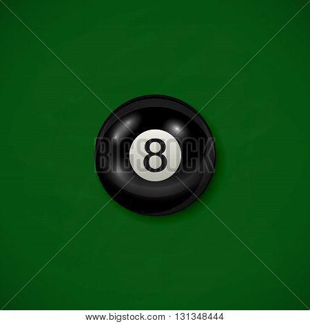 Billiard black ball on green cloth background, billiard table with black 8 ball, illustration.