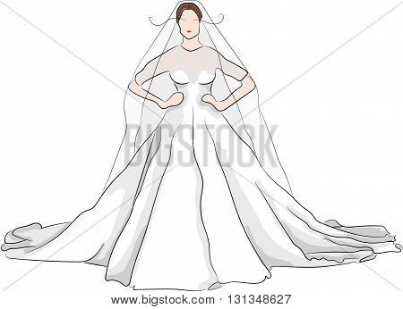 sketch magnificent wedding dress on a beautiful girl with red lips and long eyelashes