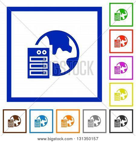 Set of color square framed web hosting flat icons