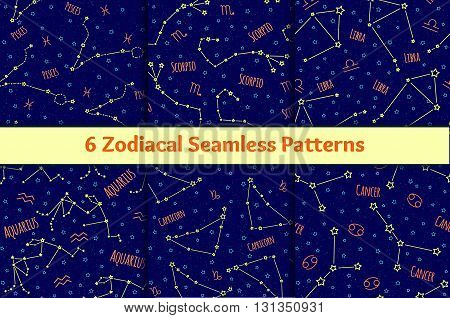 Set of seamless patterns with the image of the zodiac signs and constellations. Vector collection of blue backgrounds zodiac Pisces, Scorpio, Libra, Aquarius, Capricorn, Cancer starry sky