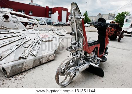Podol, Ukraine - May 19, 2016: Handmade Vintage Retro Classic Motorcycle.