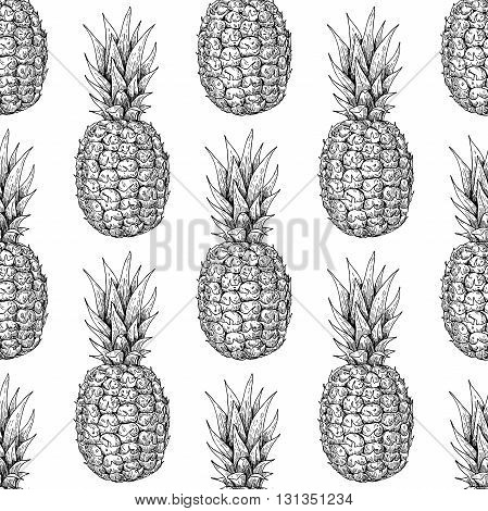 Vector hand drawn pineapple seamless pattern. Tropical summer fruit engraved style illustration. Detailed food drawing. Great for summer decor