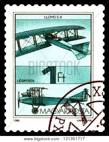 STAVROPOL RUSSIA - MAY 24 2016: A stamp printed in Hungary shows aircraft |Lloyd C II circa 1988.