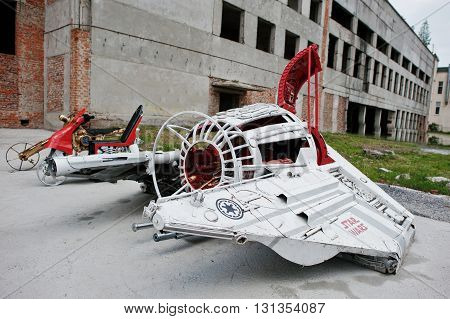 Podol, Ukraine - May 19, 2016: Handmade Space Flying Machine Star Wars