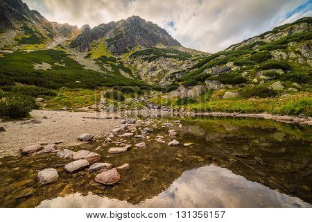 Mountain Landscape with Reflection on the Surface of a Tarn. Mlynicka Valley High Tatra Slovakia.