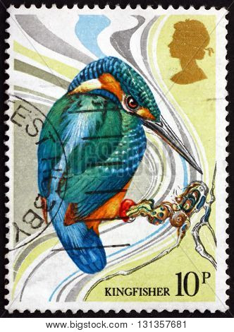GREAT BRITAIN - CIRCA 1980: a stamp printed in Great Britain shows Common Kingfisher Alcedo Atthis Bird circa 1980