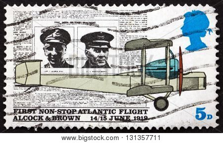 GREAT BRITAIN - CIRCA 1969: a stamp printed in Great Britain shows Alcock Brown Daily Mail and Vickers Vimy Plane 50th Anniversary of the First non-stop Atlantic Flight circa 1969