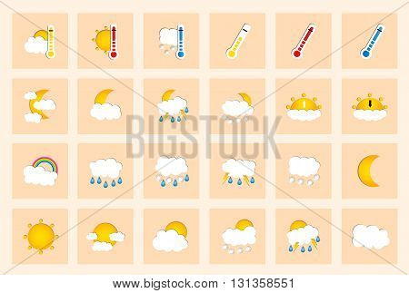 Set Of 24 Vector Weather Square Colored Window Style Flat Icons On Ivory Background. Vector Illustra