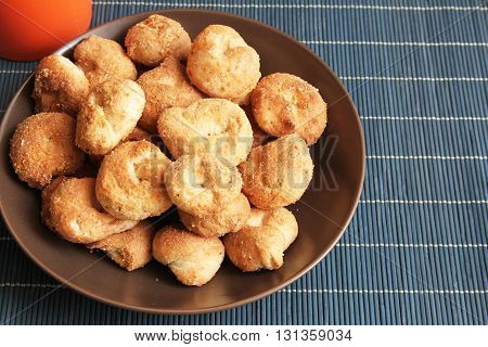 Plate of rosquitas regional cookies with flour and shortening made in Cajamarca Peru