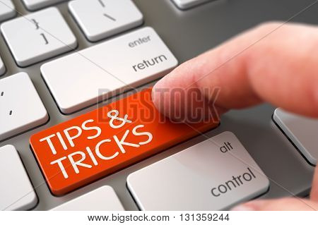 Tips and Tricks - Aluminum Keyboard Concept. Tips and Tricks - Metallic Keyboard Key. Hand Touching Tips and Tricks Button. Hand Finger Press Tips and Tricks Key. 3D.