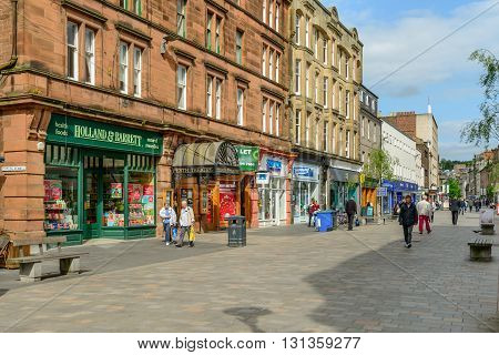 PERTH SCOTLAND - MAY 24 2016: High Street in Perth Scotland.