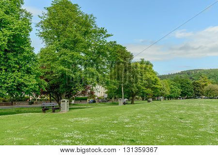 PERTH SCOTLAND - MAY 24 2016: Marshall Place and South Inch park in the city of Perth in Scotland.
