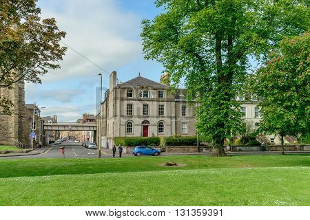 PERTH SCOTLAND - MAY 24 2016: Junction of Scott Street and Marshall Place in the city of Perth in Scotland.