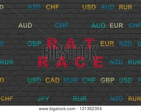 Finance concept: Painted red text Rat Race on Black Brick wall background with Currency