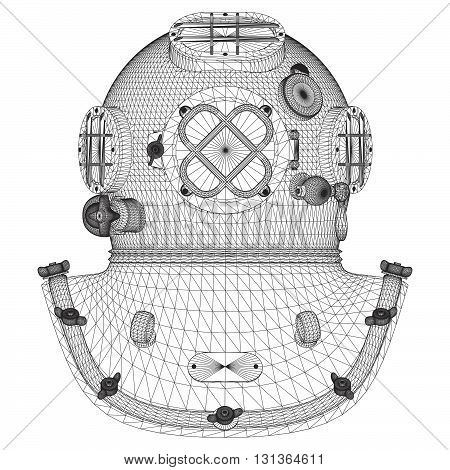 Vintage Retro Underwater Diving Helmet Illustration Vector