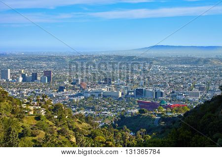 Panoramic view of the West Hollywood from Hollywood hills. Los Angeles California